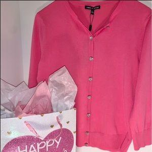 Pink BLING SPRING Rhinestone Button Sweater
